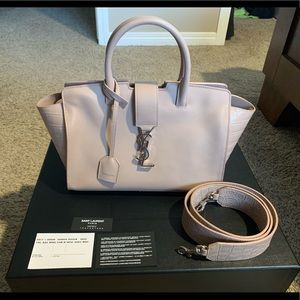 YSL Baby Downtown Cabas Bag in Rose Leather